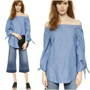 FP Show Me Some Shoulder Chambray Tunic L Linen